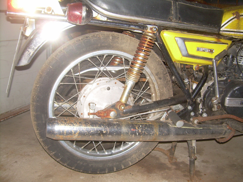 RD350 Motorcycle Rear Wheel Rusted and Oxidized