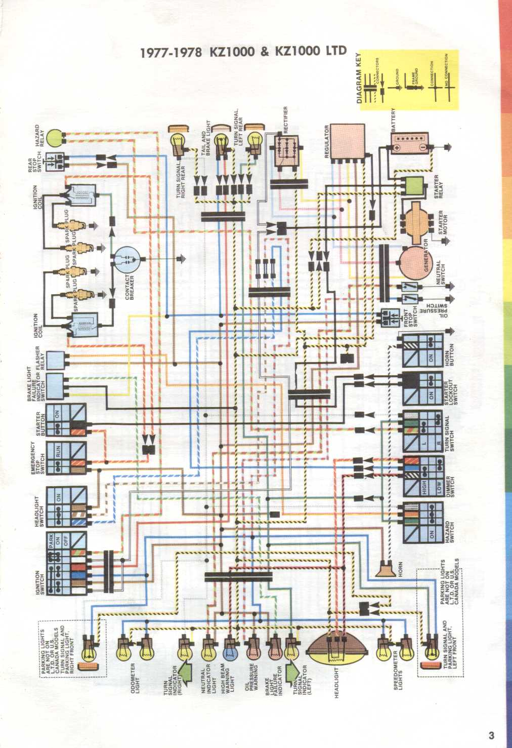 Wiring Diagram for 1977 – 1978 Kawasaki KZ1000 and KZ1000LTD – on
