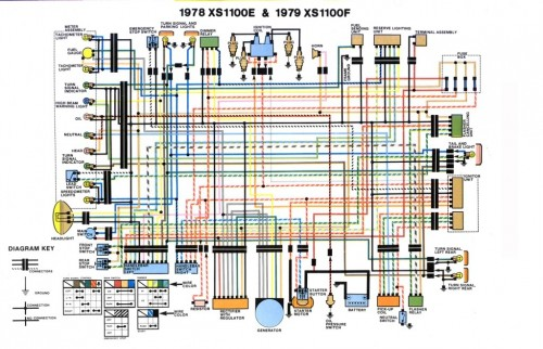 Yamaha XS1000 Wiring Diagram 1978 1979 500x322 wiring diagram for yamaha xs1100 1978 1979 evan fell motorcycle Motorcycle Wiring Harness Diagram at n-0.co
