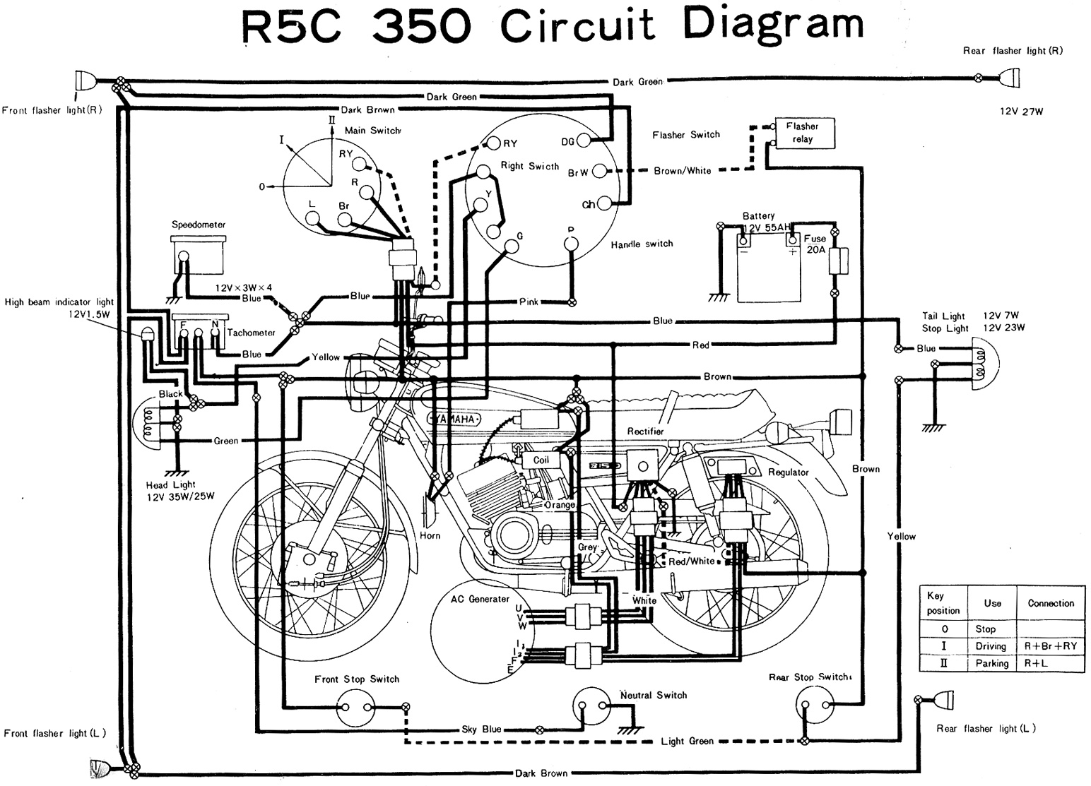 yamaha rd350 r5c wiring diagram evan fell motorcycle works rh cycles evanfell com 350 GMC Wiring Diagram 1975 yamaha rd 350 wiring diagram